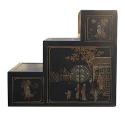 Golden Lotus - Chinese Black Color Villa & Ancient Figure Graphic Leather Tansu Cabinet - You ...
