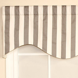 RLF Home - Gray Patio Stripe Cornice Valance - Add a classic touch to your home décor with this patterned valance. For smaller windows, these fit gathered on the rod to create a luxuriously ruffled look. Use more than one for larger openings.   Fits standard and continental curtain rods 52'' W x 17'' H Self: 100% cotton Lining: 70% polyester / 30% cotton Spot clean Made in the USA