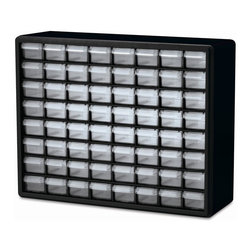 Akro Mills - 64 Drawer Storage Cabinet in Black - Includes dividers for drawers. Flexible see through drawers. Finger grip drawer pulls. Rugged high impact polystyrene frame. Cabinets stack and wall mount. Made from plastic. 15.9 in. W x 6.5 in. D x 20 in. HStrong plastic cabinets organize and protect components.