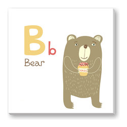 Gallery Direct - B is for Bear Gallery Wrapped Canvas - Sure to make you smile! This print is the perfect way to add character to a child's room. Printed using archival inks on artist grade canvas and wrapped over 1.5 inch stretcher bars, the print will hang 1.5 inches from your wall.