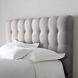"Bernhardt - Bernhardt Langford King Headboard - Button-tufted headboard adds a tailored look to the head of your bed. Handcrafted. Polyester upholstery on hardwood frame. Select color when ordering. Finished back. Drilled for metal bed frame. Twin, 47""W x 4""D x 48.25""T. Boxed weight, approxima..."