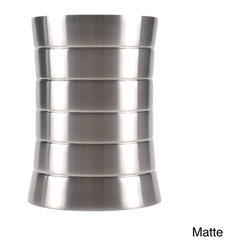 None - 5-liter Stainless Steel Trash Can - Give your bathroom or kitchen decor a modern upgrade with this eye-catching and stylish wastebasket. Crafted with stainless steel,this durable basket features a unique tapered design and comes in your choice of matte or matte and polished finishes.