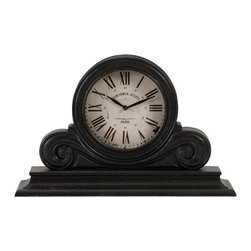 iMax - Black Mantle Clock - Traditional black wood mantel clock with white face and roman numerals.