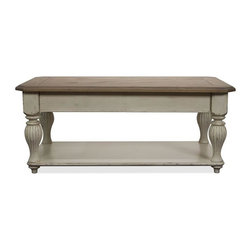 Riverside Furniture - Coventry Two Tone Lift Top Rectangular Cocktail Table - Lift hinge moves top panel up and forward.