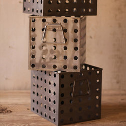 """Perforated Metal Storage Basket - Perforated metal storage baskets with a rustic iron finish. These unique, hand-crafted accessories are imported from small cottage industries in Colombia, Honduras, Haiti, Morocco, and more. Dimensions: 9.5""""w x 11.5""""d x 10""""h"""