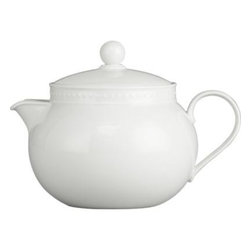 Staccato Teapot - Inspired by the decorative influences of early 1900s Vienna, this simply elegant white porcelain teapot features a raised dot pattern around the rim. Excellent quality workmanship makes this a great value. Staccato dinnerware also available.