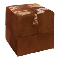 Fascinating Wood Leather Square Ottoman - Description: