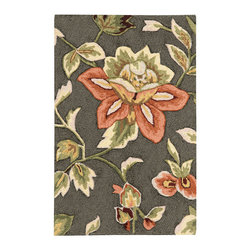 """Nourison - Nourison Fantasy FA11 1'9"""" x 2'9"""" Grey Area Rug 03251 - A lush floral in a stunning palette of salmon, coral, white and green on a dreamy teal background lends a subtle sophistication to any area. Hand-hooked, high density-yarns and gorgeous hand carving give this transitional rug incredible sensory appeal."""