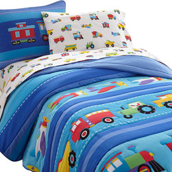 Wildkin - Olive Kids Trains, Planes, Trucks Full Comforter Set - Trains, Planes & Trucks is an Olive Kids classic! This set includes one comforter/quilt featuring a row of airplanes, assorted trucks and a train chugging along. All the elements are outline stitched.The back of the comforter is a solid blue. The coordinating shams feature a train with embroidered details.