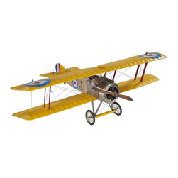 """Authentic Models - Authentic Model Sopwith Camel Medium Plane - The Sopwith Camel was a popular plane the exploits used for filling newspapers and magazines of the day. Worthy of a museum, this scale replica of the famed fighter has the originals' silk covered frame, fabric covered wings and tail section, metal faux engine, and spinning wooden propeller. This as your desk accessory, will certainly enhance your home or office. Dimensions: 19 3/4"""" Length x 9.5"""" Height x 29.5"""" Wide."""
