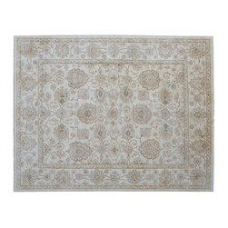 Oushak Oriental Rug, Hand Knotted 8'X10' White Wash 100% Wool Floral Rug SH9270 - Hand Knotted Oushak & Peshawar Rugs are highly demanded by interior designers.  They are known for their soft & subtle appearance.  They are composed of 100% hand spun wool as well as natural & vegetable dyes. The whole color concept of these rugs is earth tones.