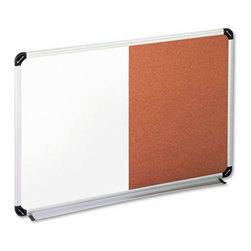 Universal - Universal 36 x 24 in. Dry Erase / Cork Bulletin Board Multicolor - UNV43743 - Shop for Dry Erase Boards from Hayneedle.com! The Universal 36 x 24 in. Dry Erase / Cork Bulletin Board combines both dry erase melamine writing surface and a natural cork tackable surface. This combination enables it perfect for writing as well as pinning up notes. A stylish satin finish aluminum frame with black and gray corner accents offers sophistication and durability to the board. Featuring a full-length marker tray and a fireproof board backing it also includes mounting hardware for greater convenience.About United StationersDedicated to making life in the office more organized efficient and easier United Stationers offers a wide variety of storage and organizational solutions for any business setting. With premium products specifically designed with the modern office in mind we're certain you will find the solution you are looking for.From rolling file carts to stationary wall files every product in the United Stations line is designed with one simple goal: to improve office efficiency. In turn you will find increased productivity happier more organized employees and an office setting that simply runs better with the ultimate goal of increasing bottom line profits.