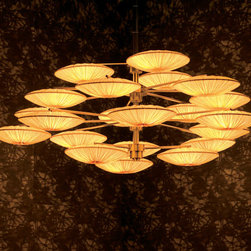Sunsa Chandelier by Aqua Creations - How to describe this stunning chandy? The delicate fabric transports me to Venice, the style transports me to Japan, the discs transport me to an another planet, via a UFO.
