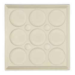 """Roman Circle Ceiling Tile - Sand - Perfect for both commercial and residential applications, these tiles are made from thick .03"""" vinyl plastic. Their lightweight yet durable construction make these tiles easy to install. Waterproof, these tiles are washable and won't stain due to humidity or mildew. A perfect choice for anyone wanting to add that designer touch at an amazing price."""