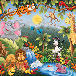 Murals Your Way - Jungle Fun Wall Art - Painted by  Julieart Dreams, Jungle Fun wall mural from Murals Your Way will add a distinctive touch to any room
