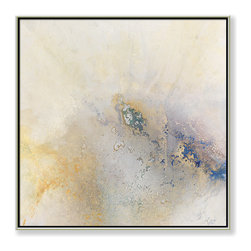 """CHC Art, Inc - Wonder, 30""""x30"""", Hand Embellished Giclee - Brushstrokes have been eliminated by pouring a viscous flow of paint resulting in fields of amorphous color. This soft, ethereal imagery projects emotions of serenity.- Hand Embellished Giclee.- Silver floater frame with dark espresso edges.- Ready to hang.- Frame adds 1.75"""" to each dimension.- Made in the USA."""