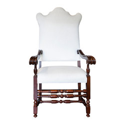 Christa Pirl Furniture - Consigned Baroque Revival Armchair, Newly Upholstered in White - This courtly, over-the-top Baroque Revival 'throne' commands attention at the dinner table (or anywhere else in the house).  Circa 1880 and standing a full five feet tall, Henry is fit for a king.  The scalloped top edge actually originated from the shape of men's wigs in the 1600s.  Take care who sits in this chair, it may go to their head.
