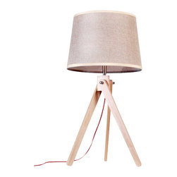 ParrotUncle - Contemporary Table Beside Lamps with Linen Fabric Shade - The tried-and-true tripod stands center stage in the design of this table Lamp. This classic base is made with wood and supports a fabric shade. Powering your lamp is a black/red power cord with On/Off switch, standard American 2-prong polarized plug. You will need a 40W max bulb, which is not included with purchase.