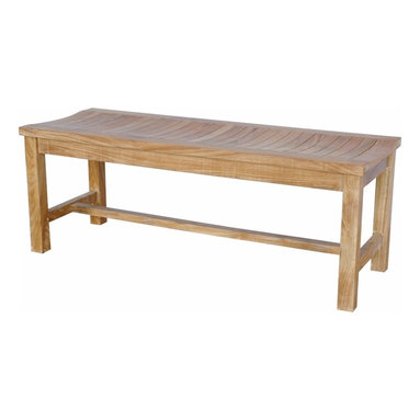 Anderson Teak - Casablanca 2-Seater Backless Bench - Unlike our benches and chairs with backs, the lowest point in this seat's curve is directly in the center, allowing you to face in either ways . This bench also can be used for seating at our rectangular dining table or in area where a bench with a back would be just too tall. Add a planter box or two for a farming, nestled in effect. Cushion is optional and is can be made by order.