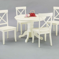 Home Styles - 5 Piece Dining Set - This gives off the feeling of elegance, and will add an air of sophistication to your home. Four matching cross back chairs complete this kitchen dining set. Features: -Sturdy pedestal style footed base table.-Stylish cross back chairs.-Solid wood construction.-Distressed: No.-Powder Coated Finish: No.-Gloss Finish: No.-Top Material: Hardwood solids.-Base Material: Hardwood solids.-Chair Material: Hardwood solids.-Solid Wood Construction: No.-Reclaimed Wood: No.-Number of Items Included: 5.-Scratch Resistant: No.-Rust Resistant: No.-Leaf Included: No.-Seating Capacity: 4.-Wine Storage: No.-Shelving: No.-Drawers: No.-Stemware Holder: No.-Upholstered Side Chair: No.-Upholstered Arm Chair: No.-Upholstered Bench: No.-Cushioned Chair Seats: No.-Chair Casters: No.-Lighted: No.-Outdoor Use: No.-Commercial Use: No.-Recycled Content: No.-Eco-Friendly: No.-Product Care: Clean with damp cloth.Specifications: -ISTA 3A Certified: Yes.Dimensions: -Chair dimensions: 38.37'' H x 18.87'' W x 22.25'' D.-Seat Height: 17.75''.-Table Dimensions: 30'' H x 42'' W x 42'' D.-Table: -Overall Table Height - Top to Bottom: 30.-Overall Table Width - Side to Side: 42.-Overall Table Depth - Front to Back: 42.-Overall Table Weight: 74..-Side Chair: -Overall Side Chair Height - Top to Bottom: 38.75.-Overall Side Chair Width - Side to Side: 19.-Overall Side Chair Depth - Front to Back: 22.5.-Side Chair Seat Height: 18.-Overall Side Chair Weight: 24..Assembly: -Assembly Required: Yes.-Tools Needed: Phillips screwdriver.-Additional Parts Required: No.Warranty: -Product Warranty: 30 day parts warranty.