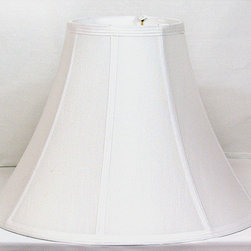 Light - Bright White Shantung Silk Bell Shade Large - Give your table lamp a new look with this bell lamp shade. This Bright White Shantung Silk bell lamp shade double lined has a White Silk interior.