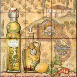 The Tile Mural Store (USA) - Tile Mural - Tuscany Ii  - Kitchen Backsplash Ideas - This beautiful artwork by Charlene Audrey has been digitally reproduced for tiles and depicts a nice Italian olive oil scene.  Our decorative tiles with wine are perfect to use for your kitchen backsplash tile project. A wine tile mural adds elegance and interest to your kitchen wall tile area and makes a wonderful kitchen backsplash idea. Pictures of wine on tiles and images of wines bottles on tiles and wine glasses on tiles is timeless and these decorative tiles of wine blend with any decor. Your kitchen will come to life with a tile mural featuring wine.
