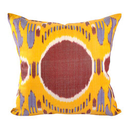 """Summer Solstice 20"""" Ikat Pillow Cover - P-A468 - 20"""" x 20"""" Ikat pillow cover constructed from hand woven Ikat fabric from Uzbekistan. 50% Silk/50% Cotton. A unique and fun Ikat pillow design with the big red dot in the center on an orange-yellow background with white and blue accent colors. This distinctive Ikat pillow design that would mix well with other bold patterns."""