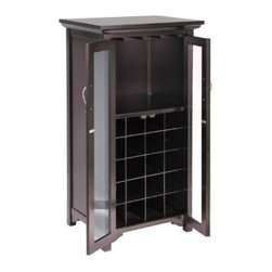 Winsome Wood - Mason Wine Cabinet with French Doors - Our handsome Mason Wine Cabinet with French Doors is simple and elegant in style. This cabinet is perfect for storing wine glasses alongwith capacity of 20 bottles. It has french doors with espresso finish.