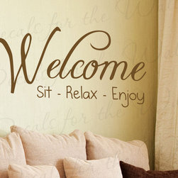 Decals for the Wall - Wall Sticker Decal Quote Vinyl Art Adhesive Graphic Welcome Sit Relax Enjoy H04 - This decal says ''Welcome, sit relax enjoy''