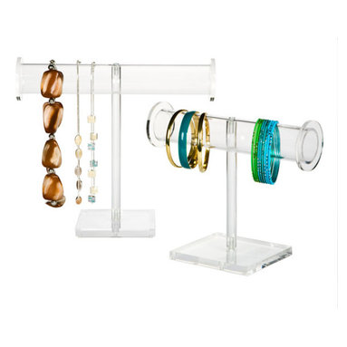 Acrylic Jewelry Hangers - Treat your jewelry collection like you're a shop keeper managing a display case. These acrylic jewelry hangers are ideal for showing off bangles and bracelets.