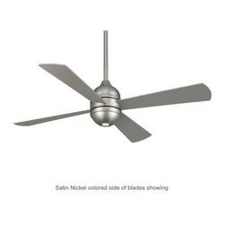 Fanimation - Fanimation Quatro Ceiling Fan in Satin Nickel - Fanimation Quatro Model FP8050SN in Satin Nickel with Reversible Cherry/Satin Nickel color Finished Blades.