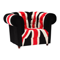 ZUO - Union Jack Armchair - Stay patriotic with our Union Jack Armchair. Made from a plush microfiber and tufted for a classic look.