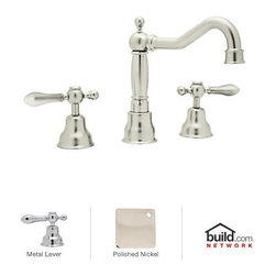 "Rohl - Rohl AC107LM-PN-2 Polished Nickel Cisal Cisal Low Lead Widespread - Cisal Low Lead Widespread Bathroom Faucet with Pop-Up Drain and Classic Metal Lever HandlesRohl's Cisal Classic collection of bathroom faucets and fixtures features traditional design elements meant to create a focal point. This family is manufactured in the Italian town of Alzo, which was once renowned for making bronze church bells. Today, Alzo is widely regarded as the ""Village of the Faucets,"" and Rohl's Cisal Classic collection employs bell-shaped bases of the spout handles as a tribute to the town's history. This family features a wide range of bathroom faucets, like single and double handle, as well as single hole, centerset, and widespread configurations. These products feature brass construction and are available in five finish options.Rohl AC107LM-2 Features:All brass faucet body construction - weight: 8 lbs.Hand-machined from solid brass stockIndustry leading, 1/4 turn lifetime ceramic disc valveSuperior finishing process – chemical, scratch, and stain resistantNumber of installation holes required: 3Center-to-center distance between handle installation holes (faucet centers): 8"" - 10""Installs onto decks up to 1-5/8"" thickClassic metal lever handles includedOverall height: 7-1/2"" (measured from counter top to highest point of faucet)Spout height: 5-1/4"" (measured from counter top to faucet outlet)Spout reach: 7-1/8"" (measured from center of faucet base to center of faucet outlet)Low lead compliant – complies with federal and state regulations for lead contentDesigned for use with standard U.S. plumbing connectionsExtra secure mounting assemblyAll necessary mounting hardware includedFully covered under Rohl's limited lifetime warrantyManufactured in New Zealand, Western Europe, and/or North AmericaVariations:AC107LM-2 - This modelAC10"