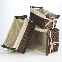 Dark Brown Isabella Willow Baskets With Liners - Wood handles make transporting files easy and attractive.