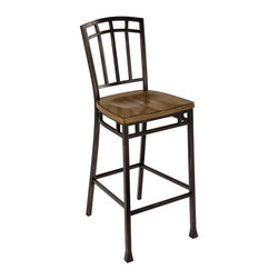 HomeStyles - Modern Craftsman Bistro Bar Stool - Reminiscent of the American Craftsman Era with understated style and simplicity, the Modern Craftsman Bar Stool marries a traditional, distressed Oak finish on oak veneers with new age, deep brown powder coated metal accented with gold highlighting. This stool encapsulates craftsman style with rectilinear and angular apron design elements, and flared legs that add character. Other features include contoured seat and 30 inch seat height. 18 in. W x 22 in. D x 46 in. H