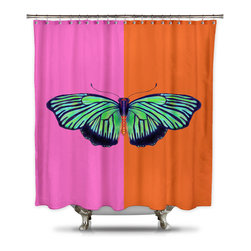 Shower Curtain HQ - Catherine Holcombe Hal Color Block Fabric Shower Curtain, Extra Long - This orange and pink shower curtain with a green butterfly on it will add so much style to your bathroom. A portion of every sale goes back to California artist, Catherine Holcombe. Add this waterproof art to your home today!