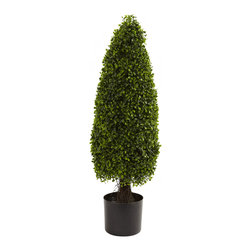 "Nearly Natural - Nearly Natural 3' Boxwood Tower Topiary UV Resistant (Indoor/Outdoor) - The boxwood is a classic ""decorating hedge"", and why not? It's pretty, dense leaves make for perfect canvas for a talented horticulturist sporting a trimmer. Here's a boxwood that's trimmed into what's called a ""tower topiary"" shape, and ready to enhance your home or office decor. Best of all, this is an indoor/outdoor decoration, and fully UV resistant."