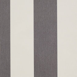 Romosa Wallcoverings - Smoke Black / White Awning Stripe Carnival Wallpaper - - This is a non woven wallpaper. Easy to hang.