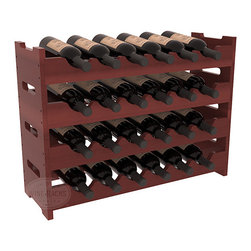 24 Bottle Mini Scalloped Wine Rack in Redwood with Cherry Stain + Satin Finish - Stack four 6 bottle racks for proper storage of 24 wine bottles. This rack requires light hardware for assembly and is ready to use as soon as it arrives. Makes the perfect gift and stores wine on any flat surface.