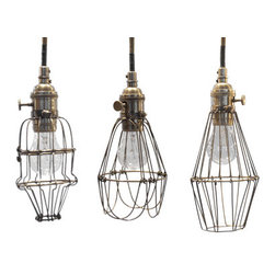 Workshop Cage Lights - Love the different shape options here.