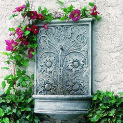 "Sussex Garden Wall Fountain - Dimensions : 28""H x 18""W x 9""D"