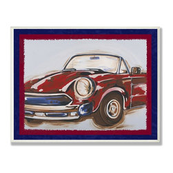 Stupell Industries - Blue and Red Vintage Car - Made in USA. Ready for Hanging. Hand Finished and Original Artwork. No Assembly Required. 15 in L x 0.5 in W x 11 in H (3 lbs.)The Kid's Room by Stupell is offering great new wall plaques for the lil' one's.  All plaques are mounted on half inch thick MDF wood and are made in USA!  Featuring original artwork, each plaque comes hand finished with hand painted edges and a sawtooth hanger on the back for instant use.