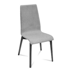 DomItalia Furniture - Jill-L Dining Chair in Light Grey / Anthracite (Set of 2) - Modern dining chair offers a clean aesthetic integrated into the sleek angles and curved contours that are found both in the frame and shell. Quality Italian craftsmanship combines with minimalist design elements to produce the Domitalia Jill-L Dining Chair in Light Grey and Anthracite (Set of 2). With a four-leg base in a sturdy ashwood frame, the shell of the chair is upholstered in wool. This combination provides a dynamic contrast of materials and color.