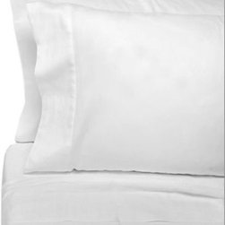 Eugenia Linens - Eugenia Linens Classic Bedding Cotton Sateen Sheet Sets in White - Hotel-quality sheets are luxuriously soft to the touch. The attractive finished sheets with simple stitching will look great on any bed.