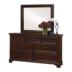 Vaughan Bassett - VaughanBassett Hanover Drawer Dresser with Mirror in Cherry - The classic look of the Dresser and Landscape Mirror provides style and function for the bedroom. The dresser has a total of seven drawers in various sizes. The top has three small drawers with felt lining making it ideal to keep jewelry and accessories secure. The drawers on the bottom are larger and lined with cedar giving it the natural aroma of cedar and will help protect clothing and bed linens. This dresser has molding around the top and base, bracket feet and wood planking on the top and sides adding character. Adding a landscape mirror creates depth and makes a statement. The clean lines and beveling are a great addition to any bedroom. The finish is distressed keeping it casual and giving it an aged feel. The dresser is made in the USA with veneers and selected hardwood solids.