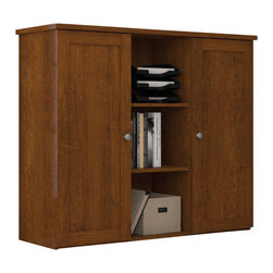 Bestar - Bestar Mason Two-Door Storage Unit in Tuscany Brown - Bestar - Storage Units - 846001163 - The Bestar Mason Two-Door Storage Unit in Tuscany Brown embodies the qualities of the Mason collection. With its traditional look and straight lines the Mason Two-Door Storage Unit is modern and stylish and is sure to complement any home's decor. Pair with the Mason L-Shape Computer Desk to complete the look or match with any of Bestar's Tuscany Brown furniture pieces.