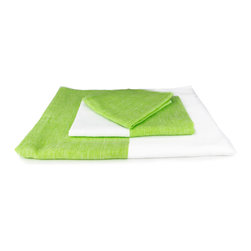 Lime Colorblock Towel - Set out something sweet for guests—choose this candy-colored towel to brighten up the bath. With a soft cotton weave on one side and absorbent looped terrycloth on the other, it'll soak up the damp and look great doing it.