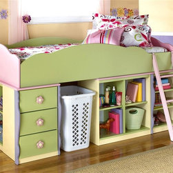 Signature Design by Ashley - 7 Pc Twin Loft Bed Set w Bin Storage - Set includes Loft Top Bed, Ladder, Drawer Storage, Door Storage, Bookcase, and 2 Bin Storages. Color/Finish: Pastel. Soft pastel multi-colored green, lavender, pink, and yellow finish. Exaggerated traditional silhouette style for a fun look. Pink and yellow flower motif handles. Side roller glides for smooth operating drawers. Bunk Bed Warning. Please read before purchase.. NOTE: ivgStores DOES NOT offer assembly on loft beds or bunk beds.. Loft Top Bed: 78 in. W x 42 in. D x 15 in. H. Ladder: 12 in. W x 2 in. D x 40 in. H. Bin Storage: 29 in. W x 18 in. D x 28 in. H. Door Storage: 29 in. W x 18 in. D x 28 in. H. Drawer Storage: 18 in. W x 17 in. D x 28 in. H. Bookcase: 18 in. W x 17 in. D x 28 in. H