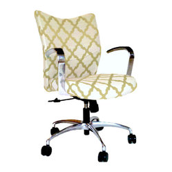 9 to 5 Seating - Office Chair Upholstered in DwellStudio Casablanca Fabric - It's rare that you'll find an office chair that's not only comfy but stylish. This one fits the bill, with its plush, lemony upholstery, perfectly placed arms, polished aluminum frame — and swivel and tilt features.