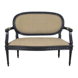 """Noir - Noir Mimi Settee - The Noir Mimi settee reinvents an age-old look for the contemporary interior. Stately tapered legs and curved arms frame textured upholstery and nailhead trim for compelling design. 48""""W x 26""""D x 38""""H; Pale mahogany; Barley cotton upholstery; Metallic nailhead trim"""